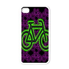 Bike Graphic Neon Colors Pink Purple Green Bicycle Light Apple Iphone 4 Case (white) by Alisyart