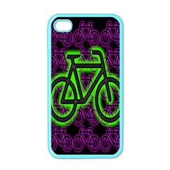 Bike Graphic Neon Colors Pink Purple Green Bicycle Light Apple Iphone 4 Case (color) by Alisyart