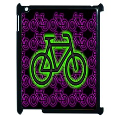 Bike Graphic Neon Colors Pink Purple Green Bicycle Light Apple Ipad 2 Case (black) by Alisyart