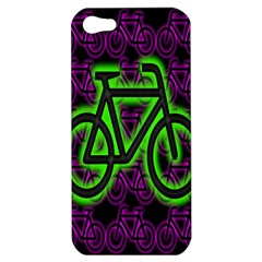 Bike Graphic Neon Colors Pink Purple Green Bicycle Light Apple Iphone 5 Hardshell Case by Alisyart