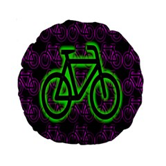 Bike Graphic Neon Colors Pink Purple Green Bicycle Light Standard 15  Premium Round Cushions by Alisyart