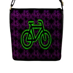 Bike Graphic Neon Colors Pink Purple Green Bicycle Light Flap Messenger Bag (l)  by Alisyart