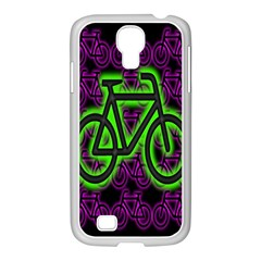 Bike Graphic Neon Colors Pink Purple Green Bicycle Light Samsung Galaxy S4 I9500/ I9505 Case (white)