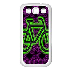 Bike Graphic Neon Colors Pink Purple Green Bicycle Light Samsung Galaxy S3 Back Case (white) by Alisyart