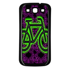 Bike Graphic Neon Colors Pink Purple Green Bicycle Light Samsung Galaxy S3 Back Case (black) by Alisyart