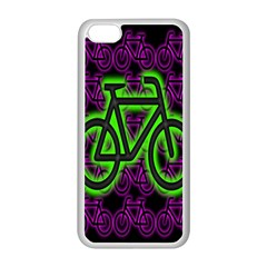 Bike Graphic Neon Colors Pink Purple Green Bicycle Light Apple Iphone 5c Seamless Case (white) by Alisyart