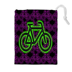 Bike Graphic Neon Colors Pink Purple Green Bicycle Light Drawstring Pouches (extra Large) by Alisyart