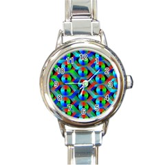 Bee Hive Color Disks Round Italian Charm Watch by Amaryn4rt