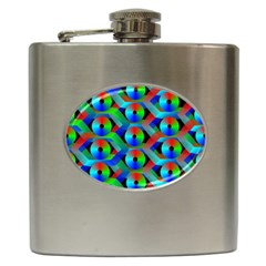 Bee Hive Color Disks Hip Flask (6 Oz) by Amaryn4rt