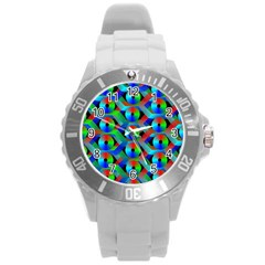Bee Hive Color Disks Round Plastic Sport Watch (l) by Amaryn4rt