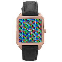Bee Hive Color Disks Rose Gold Leather Watch  by Amaryn4rt