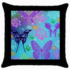 Butterfly Vector Background Throw Pillow Case (black) by Amaryn4rt