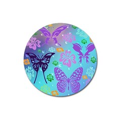 Butterfly Vector Background Magnet 3  (round) by Amaryn4rt