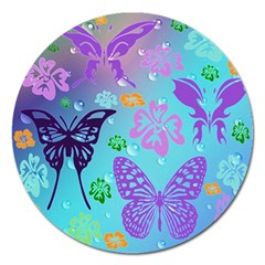 Butterfly Vector Background Magnet 5  (round) by Amaryn4rt