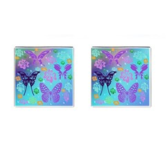 Butterfly Vector Background Cufflinks (square) by Amaryn4rt
