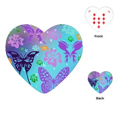 Butterfly Vector Background Playing Cards (heart)  by Amaryn4rt