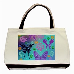 Butterfly Vector Background Basic Tote Bag by Amaryn4rt