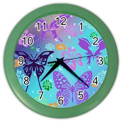 Butterfly Vector Background Color Wall Clocks by Amaryn4rt