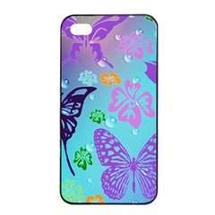 Butterfly Vector Background Apple Iphone 4/4s Seamless Case (black) by Amaryn4rt