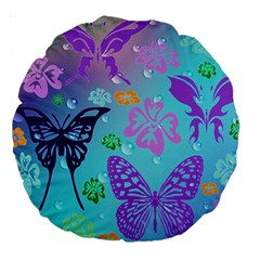 Butterfly Vector Background Large 18  Premium Round Cushions by Amaryn4rt