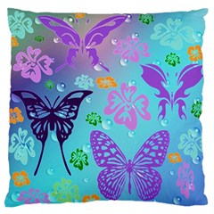 Butterfly Vector Background Large Flano Cushion Case (one Side) by Amaryn4rt