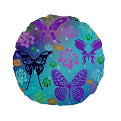 Butterfly Vector Background Standard 15  Premium Flano Round Cushions by Amaryn4rt