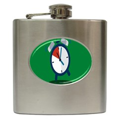 Alarm Clock Weker Time Red Blue Green Hip Flask (6 Oz) by Alisyart