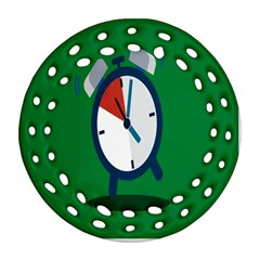 Alarm Clock Weker Time Red Blue Green Round Filigree Ornament (two Sides) by Alisyart