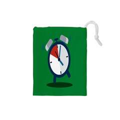Alarm Clock Weker Time Red Blue Green Drawstring Pouches (small)  by Alisyart