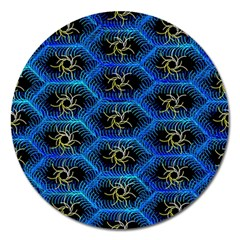 Blue Bee Hive Pattern Magnet 5  (round) by Amaryn4rt