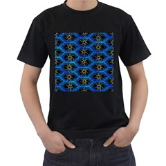 Blue Bee Hive Pattern Men s T Shirt (black) (two Sided) by Amaryn4rt