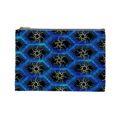 Blue Bee Hive Pattern Cosmetic Bag (large)  by Amaryn4rt