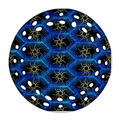 Blue Bee Hive Pattern Round Filigree Ornament (two Sides) by Amaryn4rt