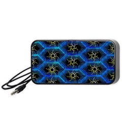 Blue Bee Hive Pattern Portable Speaker (black) by Amaryn4rt