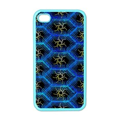 Blue Bee Hive Pattern Apple Iphone 4 Case (color) by Amaryn4rt