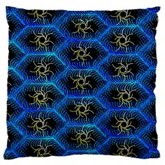 Blue Bee Hive Pattern Large Cushion Case (two Sides) by Amaryn4rt