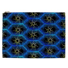 Blue Bee Hive Pattern Cosmetic Bag (xxl)  by Amaryn4rt