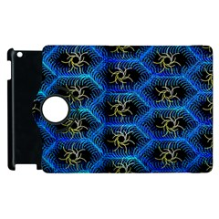 Blue Bee Hive Pattern Apple Ipad 2 Flip 360 Case by Amaryn4rt