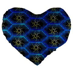 Blue Bee Hive Pattern Large 19  Premium Heart Shape Cushions by Amaryn4rt