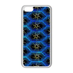Blue Bee Hive Pattern Apple Iphone 5c Seamless Case (white) by Amaryn4rt
