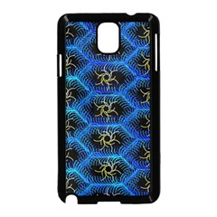 Blue Bee Hive Pattern Samsung Galaxy Note 3 Neo Hardshell Case (black) by Amaryn4rt