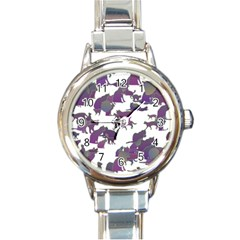 Many Cats Silhouettes Texture Round Italian Charm Watch by Amaryn4rt