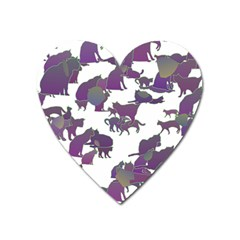 Many Cats Silhouettes Texture Heart Magnet by Amaryn4rt