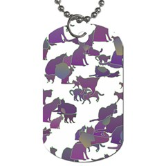 Many Cats Silhouettes Texture Dog Tag (two Sides) by Amaryn4rt
