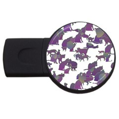 Many Cats Silhouettes Texture Usb Flash Drive Round (2 Gb) by Amaryn4rt