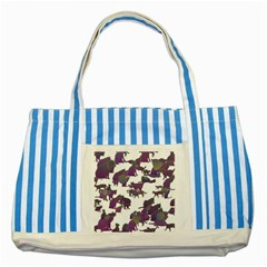 Many Cats Silhouettes Texture Striped Blue Tote Bag by Amaryn4rt