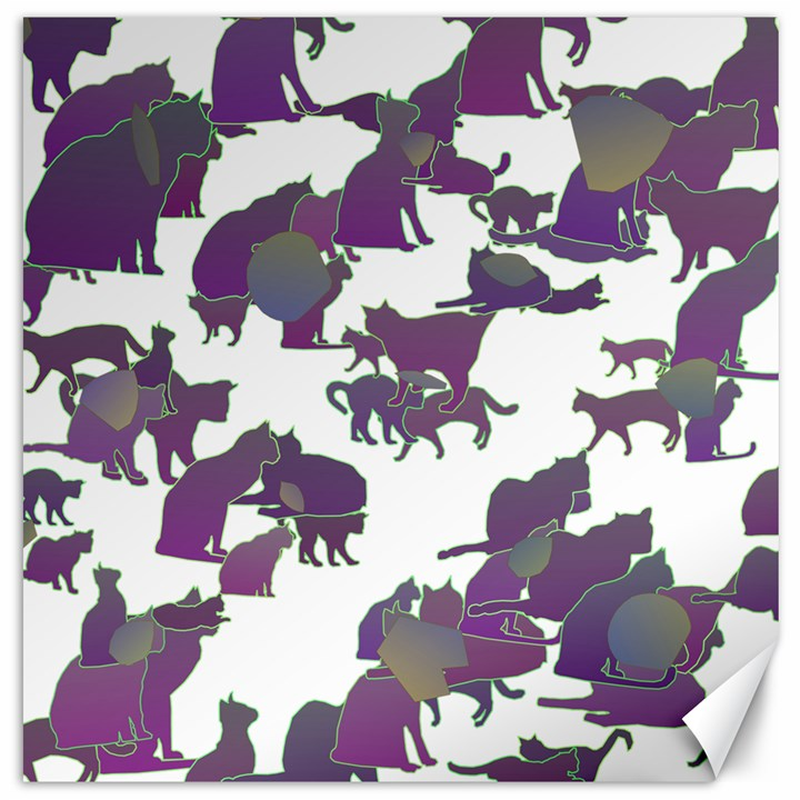 Many Cats Silhouettes Texture Canvas 12  x 12