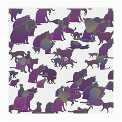 Many Cats Silhouettes Texture Medium Glasses Cloth by Amaryn4rt