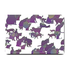 Many Cats Silhouettes Texture Small Doormat  by Amaryn4rt