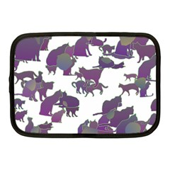 Many Cats Silhouettes Texture Netbook Case (medium)